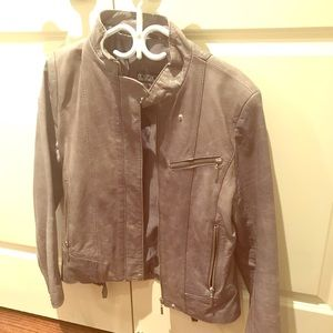 Grey Italian Leather Jacket - Like New
